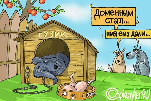 Карикатура: собака на привязи