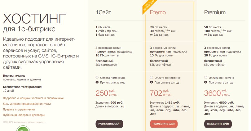 Тарифы для сайтов на 1С Битрикс