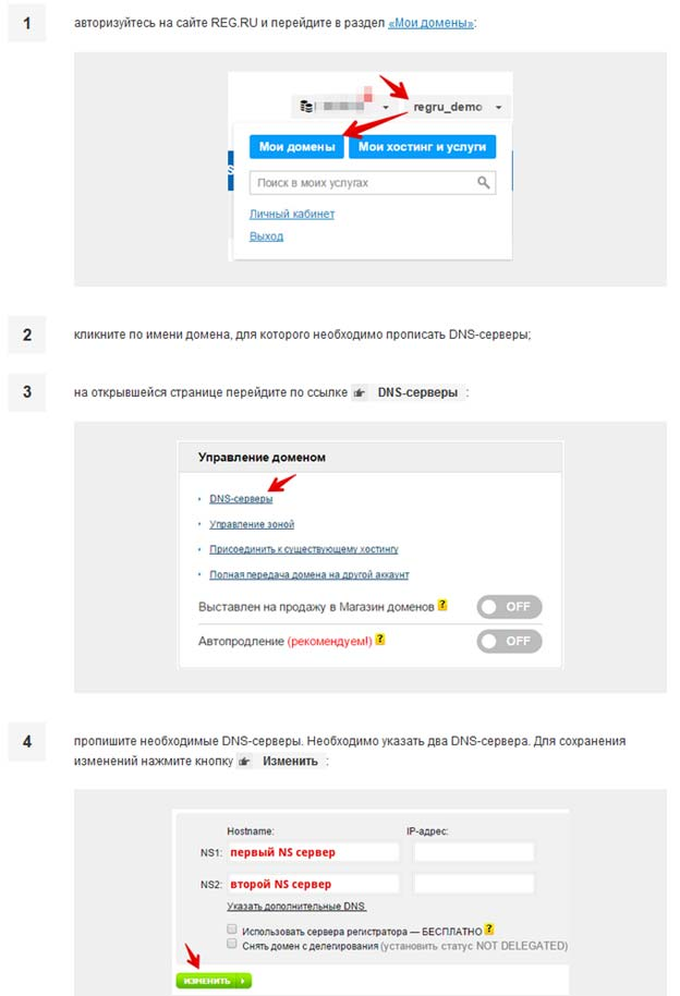 Настройка домена у reg.ru